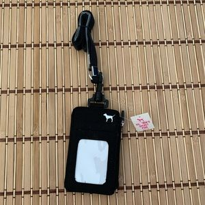 Victoria's Secret Pink Lanyard Card Tag Black NWT